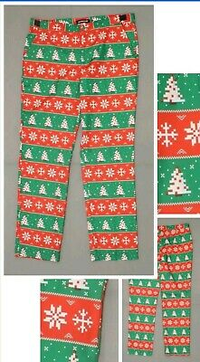 Suitmeister Christmas Holiday Pants Printed Suit Paints 2XL Ugly Sweater