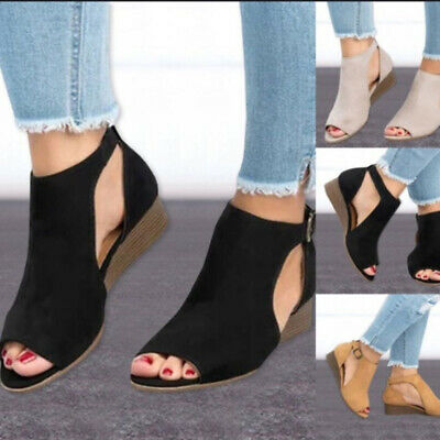 Female Wedge Sandals Lady Plus Size Suede Leather Sandals Peep Toe Shoes lc