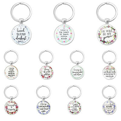 Bible Verse Key Chains Handmade Glass Key Ring Faith Jewelry Christian Gifts  lc
