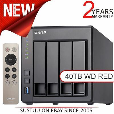 QNAP 4 Bay Desktop NAS Unit│40TB WD RED Hard Drives│Storage Device with 2GB RAM