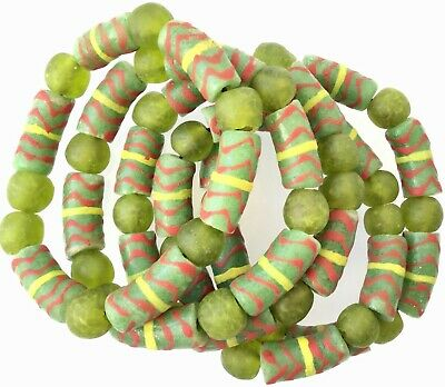 Handmade Ghana Fancy Happy Green multi bracelet-African Trade Beads-Ghana