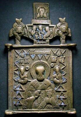 Ancient Bronze Orthodox Icon. Saint Nicholas. Artifact 18-19 Century (R.119.06)