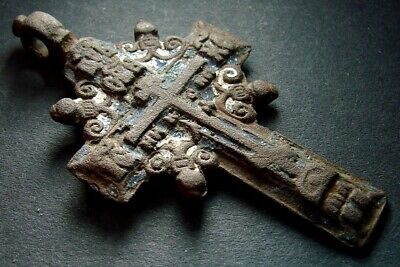 ANCIENT BIG BRONZE ENAMEL CROSS. RELIGIOUS ARTIFACT 18 CENTURY. 63 mm. (R.071)