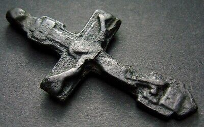 VERY ANCIENT BRONZE CROSS RARE. RELIGIOUS ARTIFACT 15 - 16 CENTURY 45 mm (R.062)