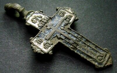 ANCIENT BRONZE ENAMEL CROSS. RELIGIOUS ARTIFACT 17 - 18 CENTURY. 50 mm. (R.111)
