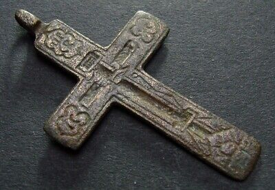 ANCIENT BRONZE CROSS RARE. RELIGIOUS ARTIFACT 17 - 18 CENTURY. 45 mm. (F.090)