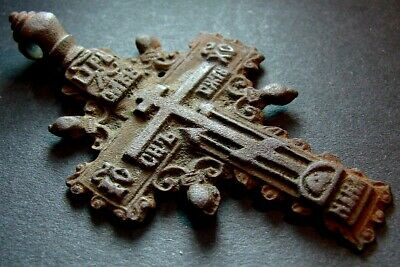 ANCIENT BIG BRONZE CROSS WITH PRAYER RELIGIOUS ARTIFACT 18 CENTURY 62 mm (R.076)