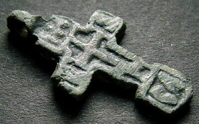 ANCIENT BRONZE CROSS RARE. RELIGIOUS ARTIFACT 14 CENTURY. 25 mm. (R.048)