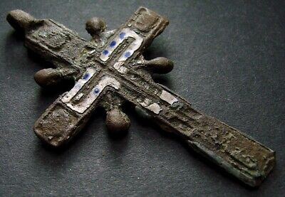 ANCIENT BIG BRONZE ENAMEL CROSS RELIGIOUS ARTIFACT 17 - 18 CENTURY 54 mm (R.066)