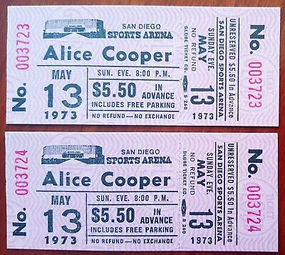 Pair * UNUSED Tickets * ALICE COOPER *  1973 * San Diego Sports Arena * MINT