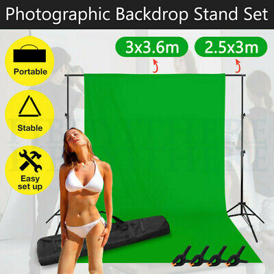 LARGE Photography Studio Screen Green Muslin Backdrop Video Background Stand KIT