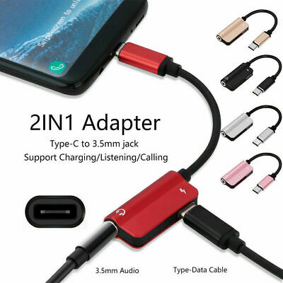 2 in1 Audio Convertor USB Type C to 3.5 mm Headphone Jack Adapter AUX Cable W
