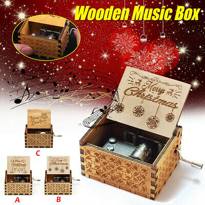 Retro Hand Cranked Wood Music Box Party Xmas Gift Home Crafts Ornaments Decor
