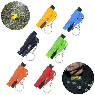 3 in1 Survival Rescue Tool Saving Hammer Seat Belt Cutter Whistle w/ Keychain