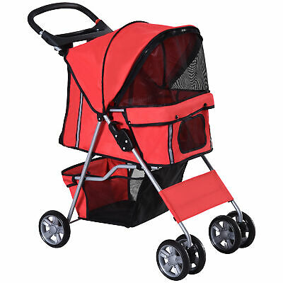 PawHut Pet Stroller Cat Dog Zipper Entry Carrier Cart Wheels Travel Red