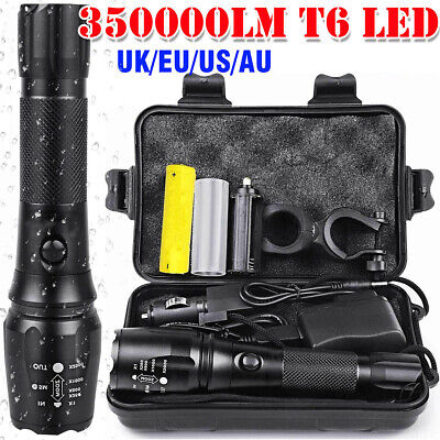 350000LM T6 LED Torch Flashlight Headlamp+Holder Mount For MTB Bike Rechargeable