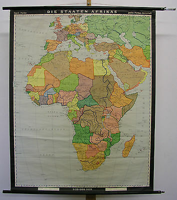 Schulwandkarte Countries Africa 1964 96x120cm Vintage Political States Map