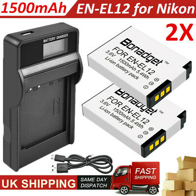 2x 1500mAh EN-EL12 Battery + USB LCD Charger for Nikon Coolpix AW100 S9100 S8200