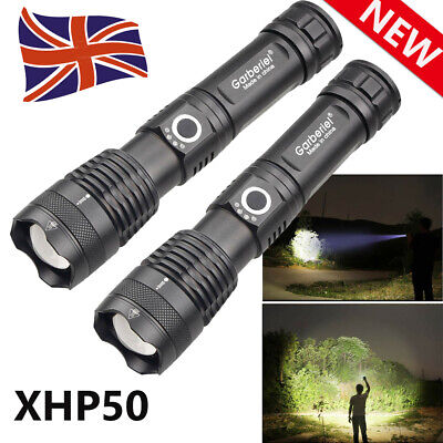 XHP50 LED Flashlight High Power 900000Lumens 18650/26650 Zoomable Rechargeable
