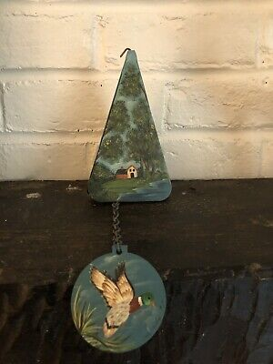 Vintage 95 Pyramid Triangle Shaped Hand Painted Metal Wind Chime Wind Bell