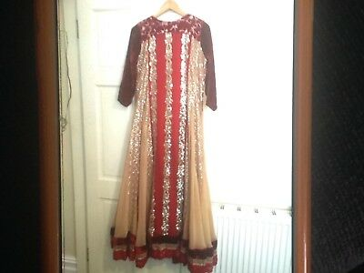 ladeis party dress red and gold Indian pakistani size 12/14