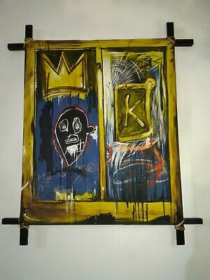 Rare And Nice Jean Michel Basquiat Oil On Canvas Painting Signed