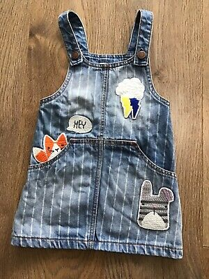 Next Girls Age 2-3 Years Blue Denim Pinafore Embroidered Cats G474
