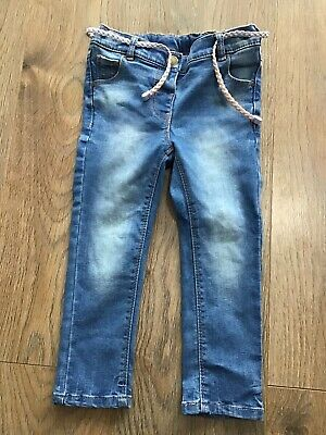Next Girls Age 2-3 Years Blue Denim Jeans Adjustable Waist G470