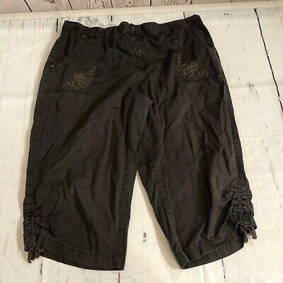 Basic Editions Women Capri Crop Casual Pants Plus Size 1X Brown Cropped - C70