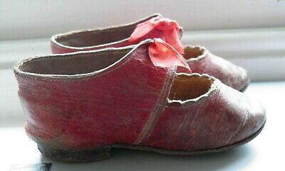 Pair of lovely antique 19th c infant's red leather shoes