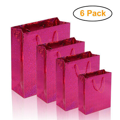 6 x Gift Bags Holographic Foil Party Xmas Weddings Presents Christmas Bulk Buy