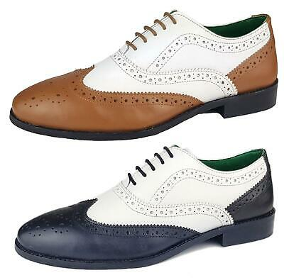 Mens Leather Lace Up Wingtip Two Tone Formal Evening Brogue Shoes 7 8 9 10 11 12