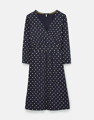 Joules 208563 Wrap Dress With 3/4 Sleeve in NAVY BEE SPOT