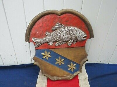 Decorative Resin Armourial Coat Of Arms  Fish Pub Bar Hotel Wall Art Decoration