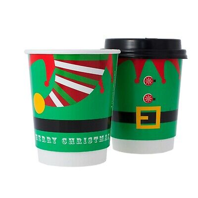 8oz Disposable Elf Christmas Coffee Cups + FREE LIDS. Double Wall. Recyclable.