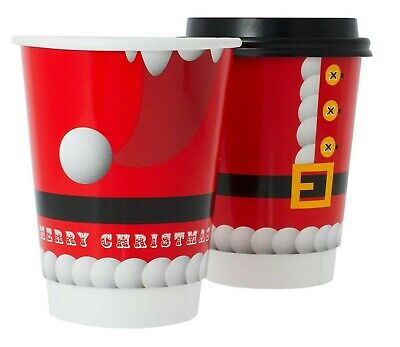 12oz Disposable Santa Christmas Coffee Cups + FREE LIDS. Double Wall. Recyclable