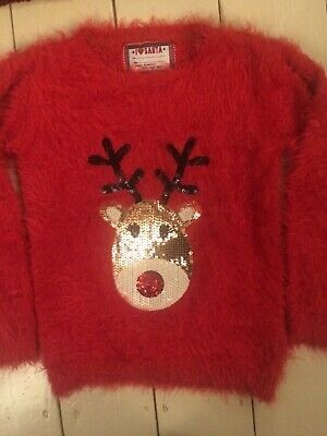 girls fluffy christmas jumper age 7/8years by young dimension at primark