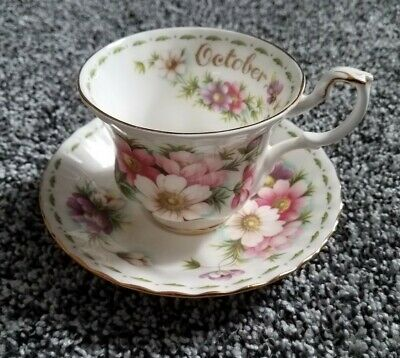 Royal Albert Bone China Tea Cup & Saucer October Flower of the Month Cosmos