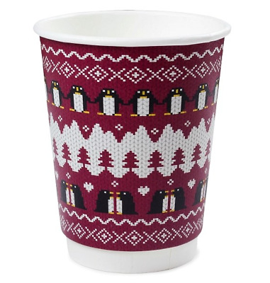 12oz Disposable Christmas Coffee Cups + FREE LIDS. Double Wall. Recyclable.