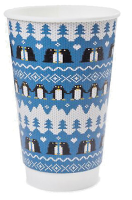 16oz Disposable Christmas Coffee Cups + FREE LIDS. Double Wall. Recyclable