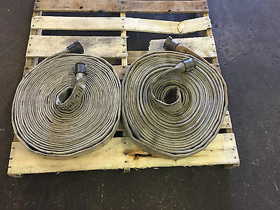 "(2) 1 1/2"" X 75' Lay-Flat White Mill Water Discharge Hose Assembly Lot of 2"