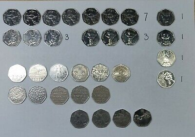 50p 29x Fifty Pence Coins +2x Two Pounds commemorativ Circulated Various designs