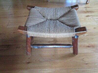 Vintage Arts & Crafts  Footstool --Oak with Woven Seat