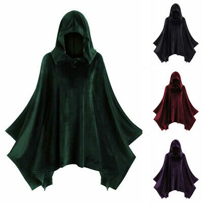 Unisex Medieval Gothic Costume Hooded Coat Steampunk Stage Autumn Tops Jacket