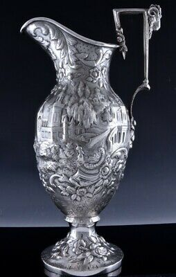 HUGE c1860 KIRK & SON AMERICAN CASTLE REPOUSSE STERLING SILVER JUG PITCHER 2