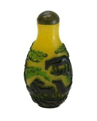 Chinese Cameo Green & Yellow Forest Hand Carved Snuff Bottle, Pre 1920