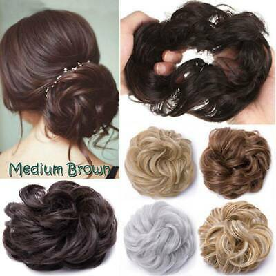 100% REAL Messy Scrunchie Bun Ponytail Hair Extensions Blonde Hairpiece As Human