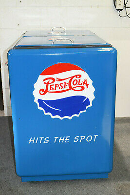 Vintage 1940's Pepsi Cola Ice Cooler Double Dot Hand Painted Restored w/ Opener