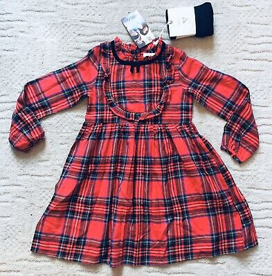 Girls Next Gorgeous Red Tartan Dress & Black Tights Set Outfit Age 5-6 New 🖤