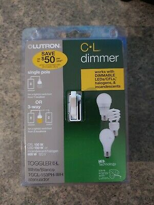 Lutron TGCL-153PH-WH 150W Toggler CFL/LED Single-Pole/3-Way Dimmer, White